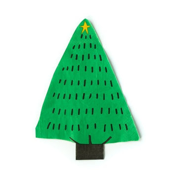 green Christmas tree napkins