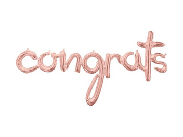 congrats rose gold balloon banner