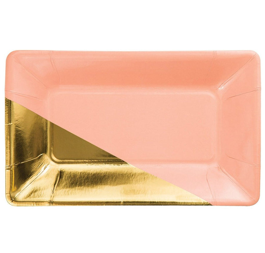 coral gold rectangle paper plate