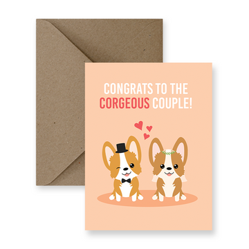 congrats to the corgeous couple corgi wedding greeting card