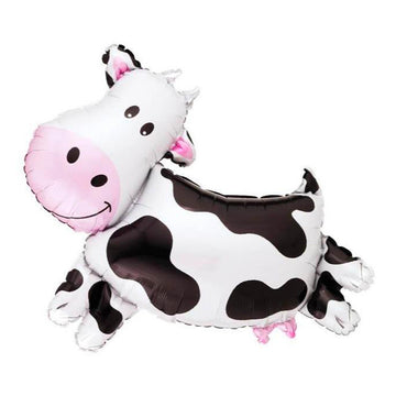 black white cow balloon