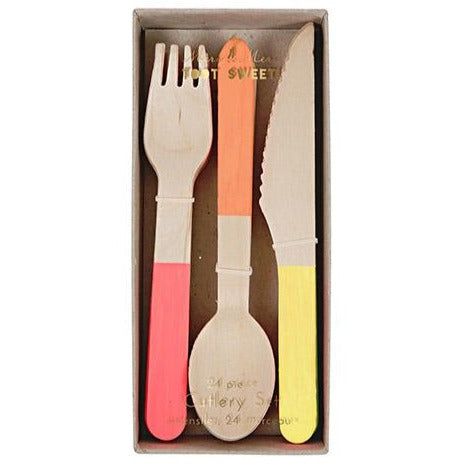 red orange yellow handled birch wood cutlery