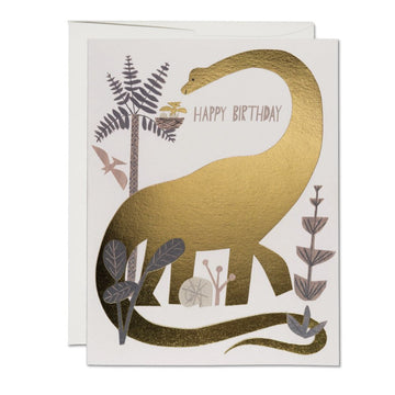 dinosaur birthday card in gold foil by christian robinson for red cap cards
