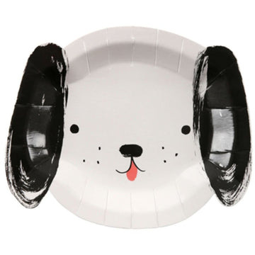 black and white dog paper plate