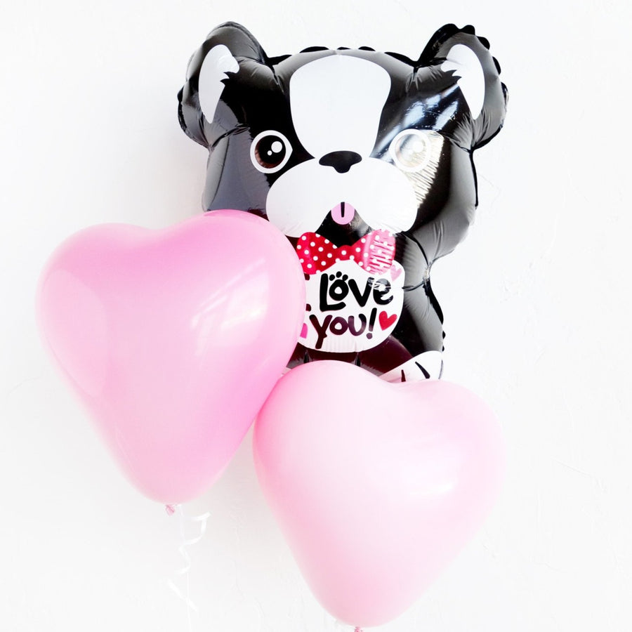 french bulldog I love you balloon with heart balloons