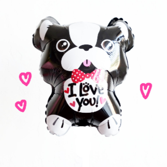 french bulldog I love you balloon with hearts