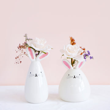 bunny flower vase with flowers