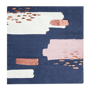 navy white pink rose gold abstract napkins