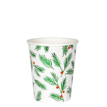 pine leaves and berries paper cup