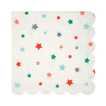 red green silver star napkins