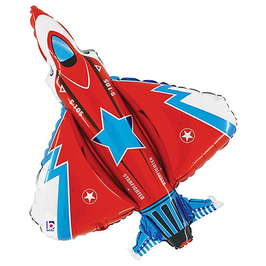red and blue fighter jet balloon