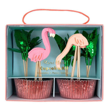 flamingo green leaf cupcake liners and toppers set