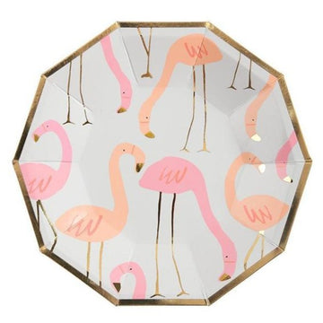 pink flamingo paper plate