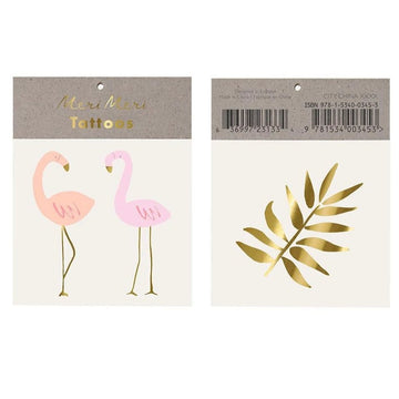 pink flamingo gold leaf tattoos