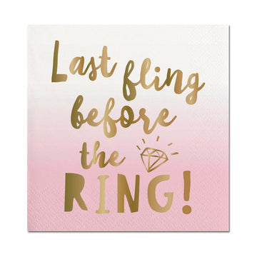 last fling before the ring pink and gold napkin