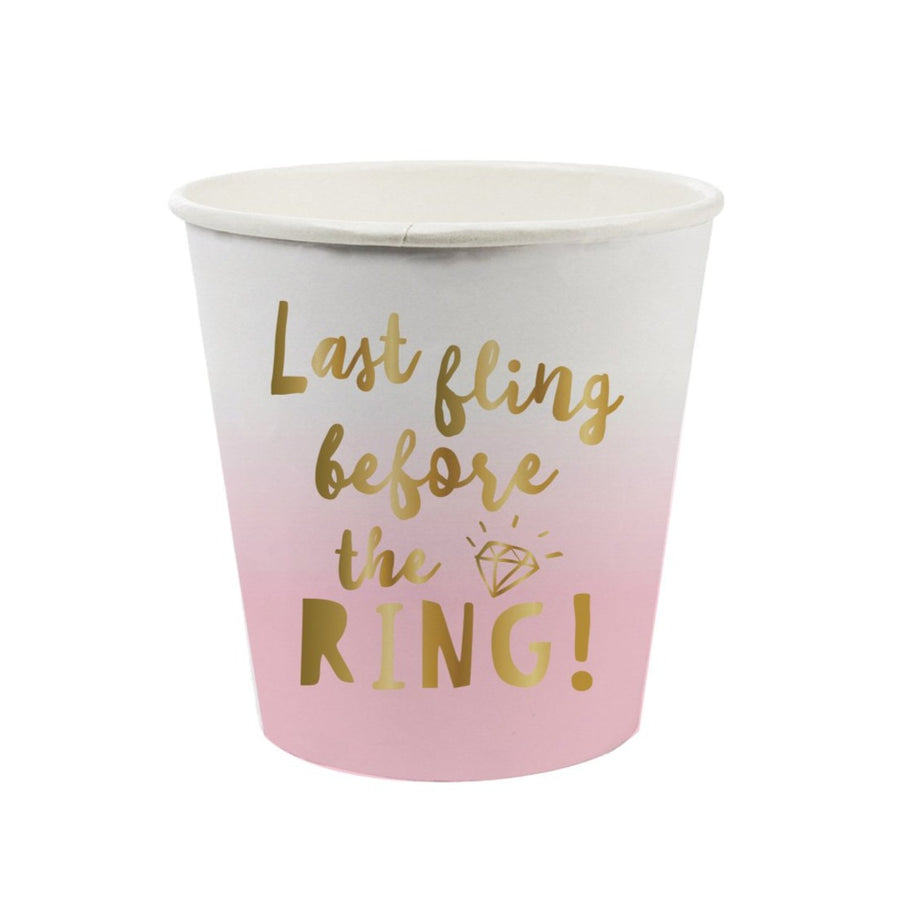last fling before the ring pink and gold paper cup