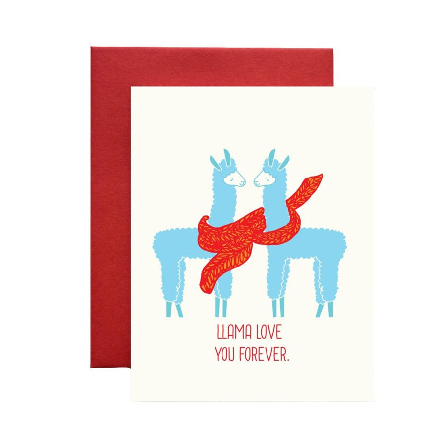 llama love you forever blue and red greeting card
