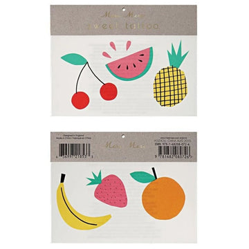 cherry watermelon pineapple banana strawberry orange fruit temporary tattoo