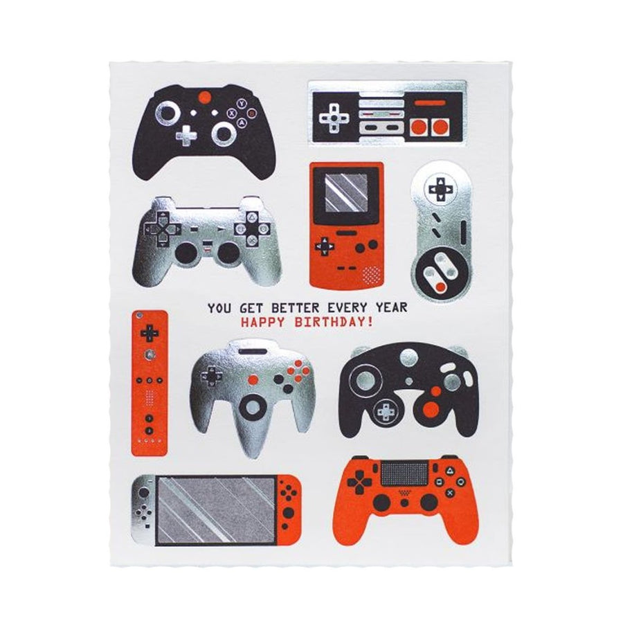 video game console controllers silver and red birthday greeting card