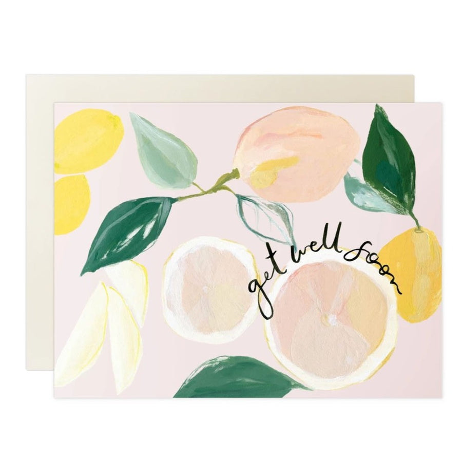 lemon pink & yellow get well soon greeting card