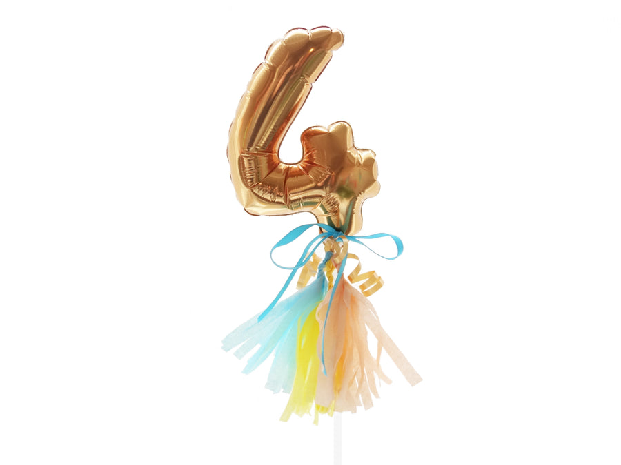 Mini Gold Number Balloon with Tassels and Bow