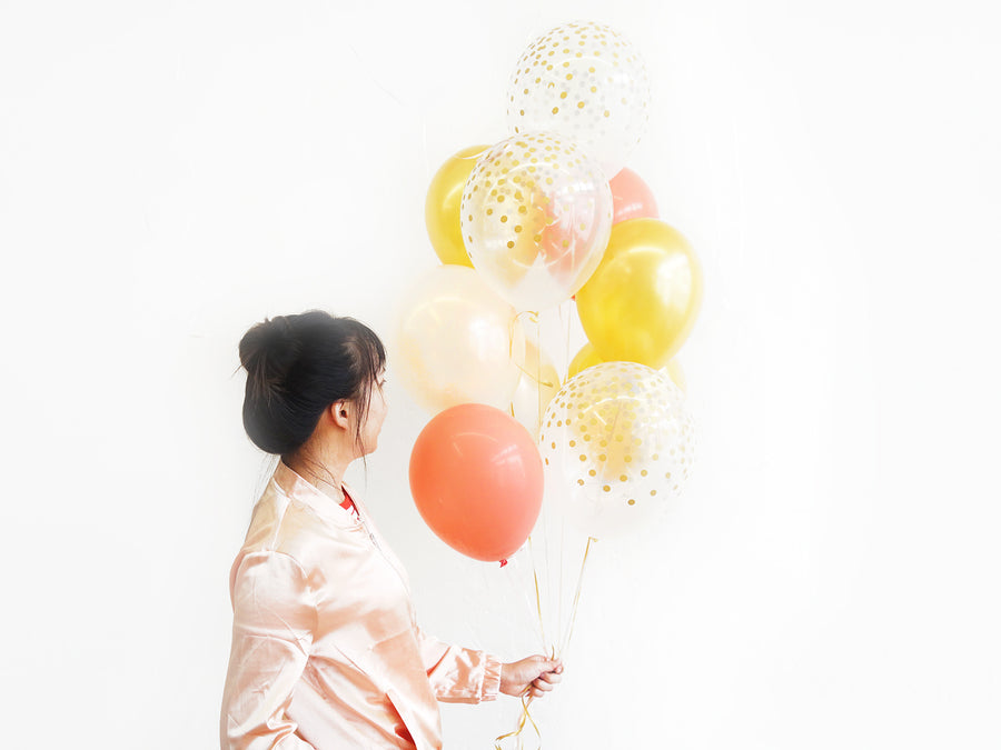 Balloon Set in Gold Coral