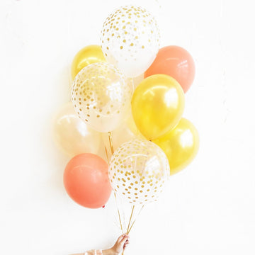 Balloon Bouquet in Gold Coral