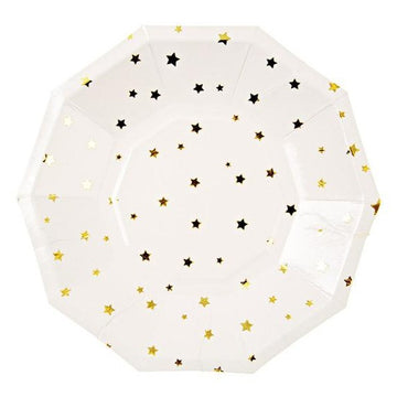 white and gold star paper plates