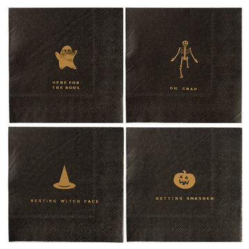 black and gold halloween pun napkins