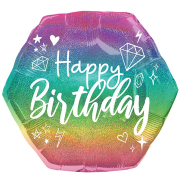 rainbow sparkle happy birthday balloon