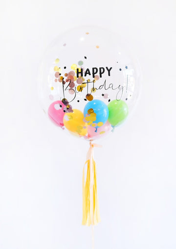 Happy Birthday Bubble Balloon with Tassel - Customizable