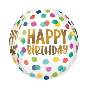 Happy Birthday Rainbow Dots Orb Balloon