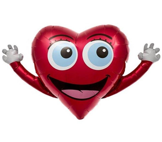 wide-eyed red heart happy hands balloon