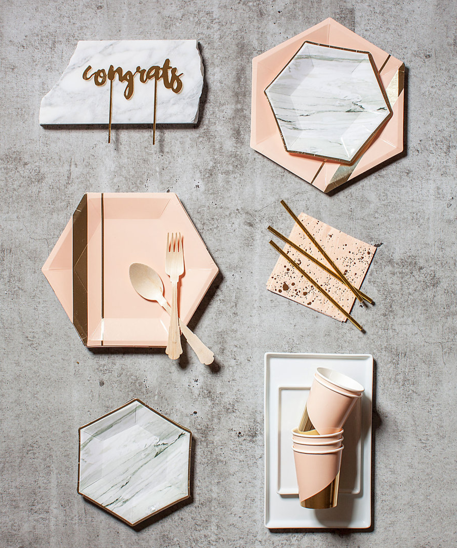 peach gold and marble table decorations