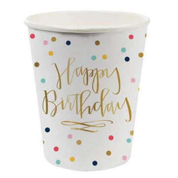 happy birthday with rainbow polka dots paper cups
