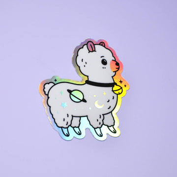 Galaxy Alpaca Holographic Vinyl Sticker