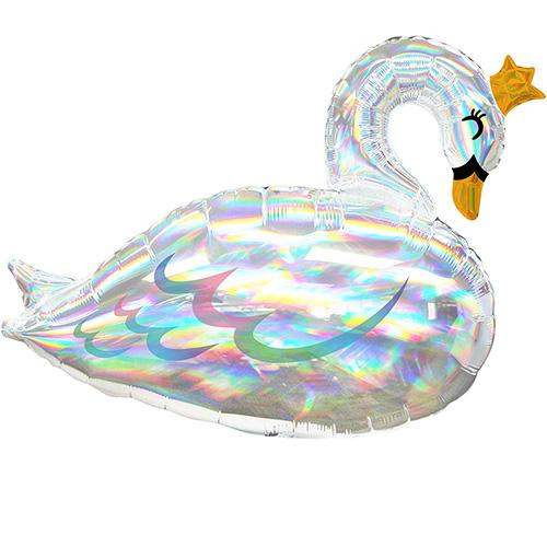 holographic swan balloon with crown