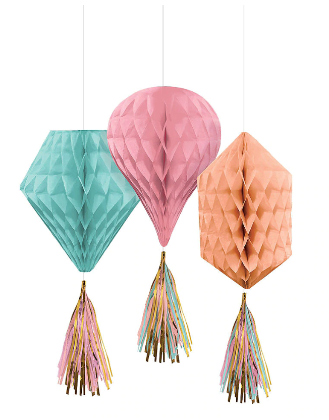 blue pink and coral honeycomb decorations with tassels
