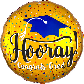 hooray grad cap gold balloon