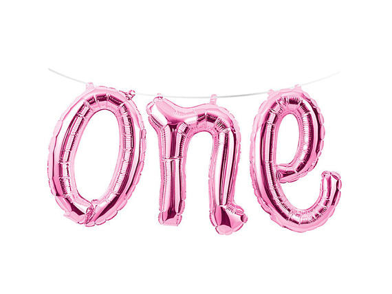ONE Script Balloon - Pink