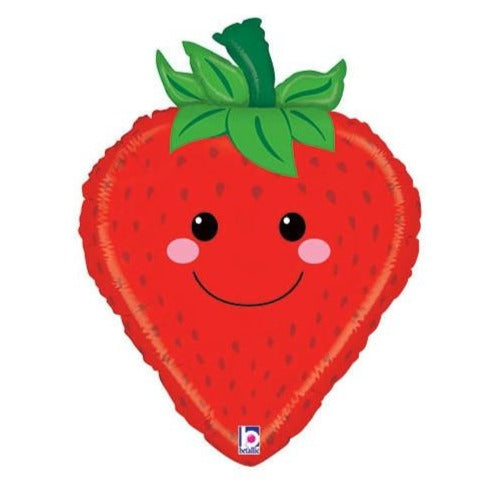 smiling red strawberry balloon
