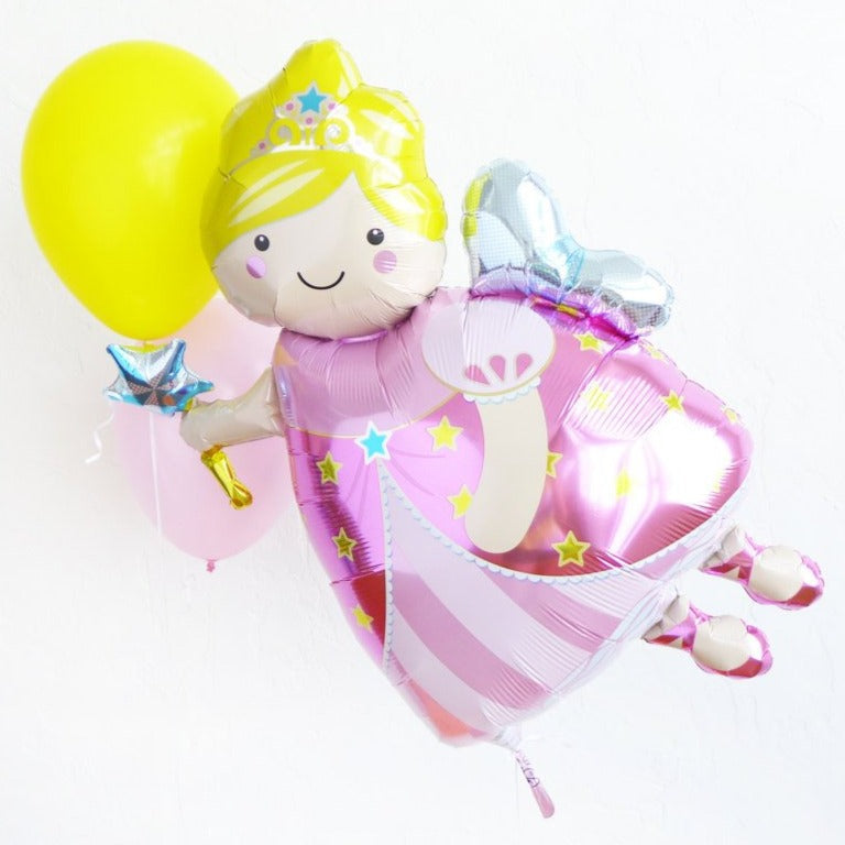 pink yellow fairy balloons