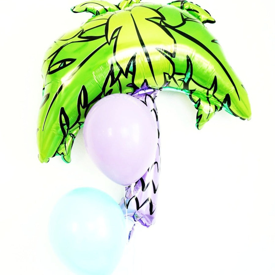 palm tree balloon with blue and purple balloons