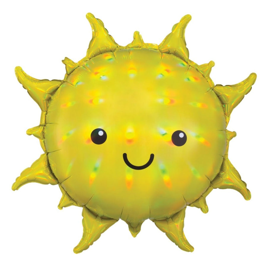 smiling holographic yellow sun balloon
