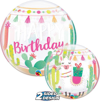 happy birthday llama bubble balloon