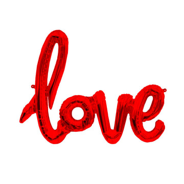 LOVE Script Red Letter Balloon
