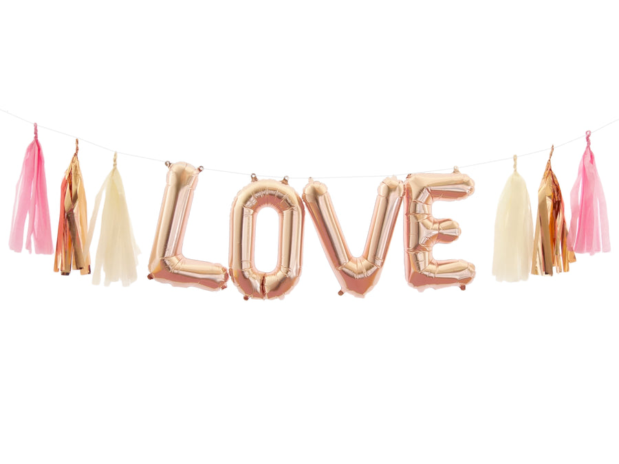 LOVE Rose Gold Balloon Banner Kit