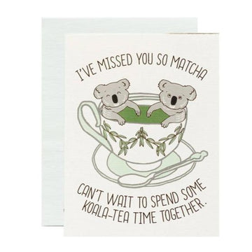 I've missed you so matcha koala-tea time pun greeting card
