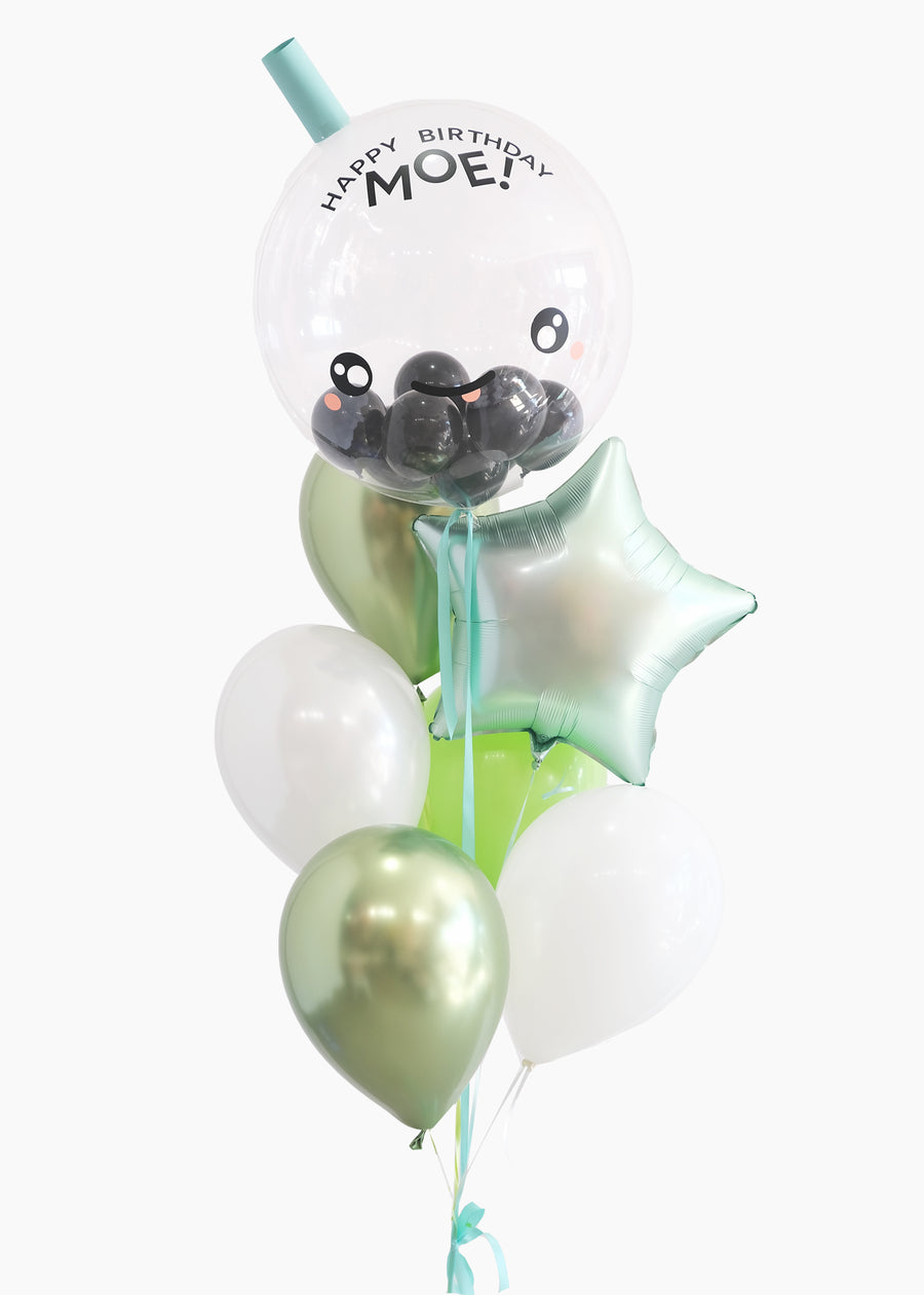 Boba Balloon in Matcha Latte | Personalized Name!
