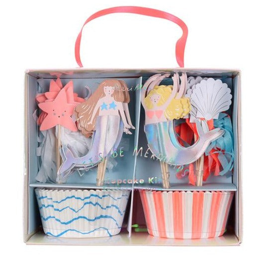 mermaid starfish shell cupcake set kit